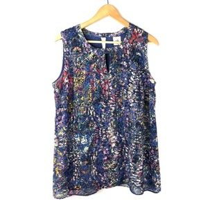Cabi Blouse Top Stained Glass Blue Medium #3093